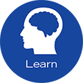 Learn icon depicting a brain.