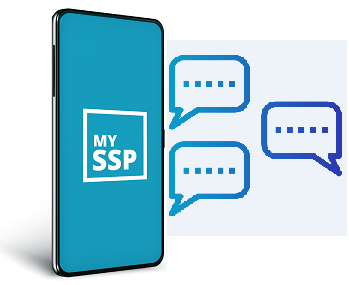 mySSP on cellphone with text bubbles