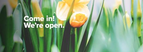 We're open! Mon - Fri, 9am - 4:30pm with ext. hours to 7pm on Thursdays. Closed daily from 12 pm - 12:30pm.