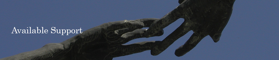 Image for Available Support, of hands of a statue reaching out to each other.