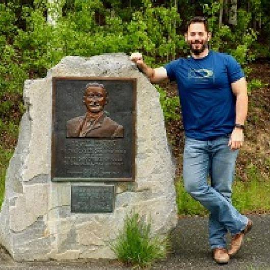 Christopher Petrakos - At the Felix Pedro Monument, Fairbanks, Alaska
