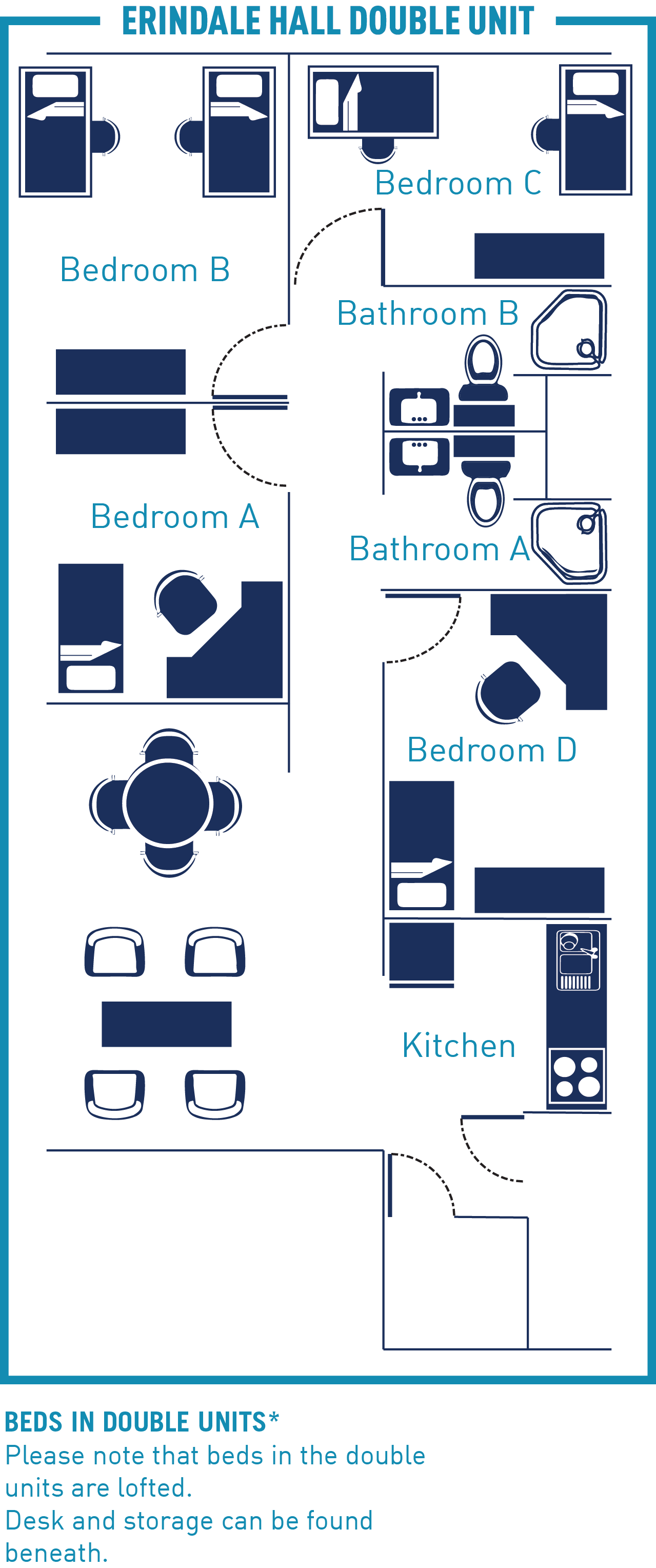 Floor plan of an Erindale Hall Unit