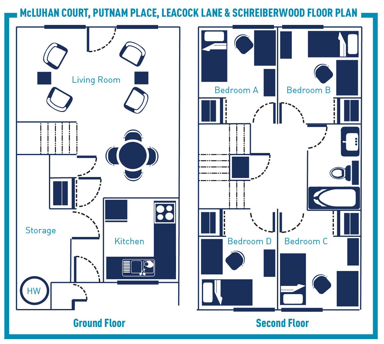 Single Bedroom In Townhouse Style Residences: McLuhan Court, Putnam Place,  Leacock Lane U0026 Schreiberwood