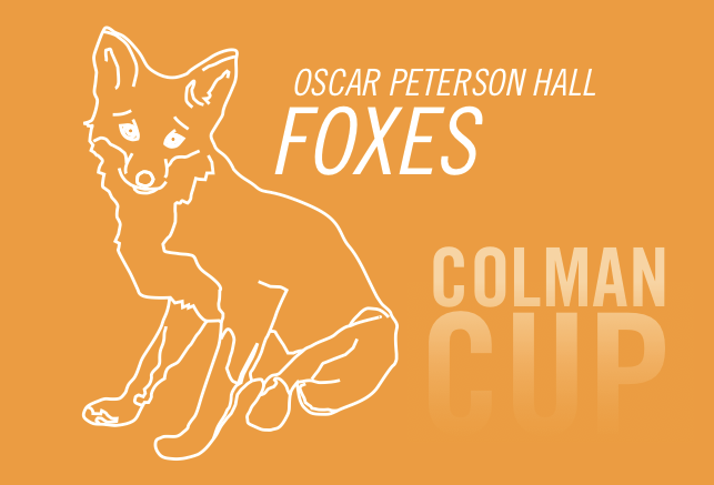 Line drawing of fox with orange background
