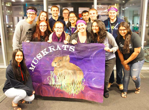 The Muskrats and their mascot flag