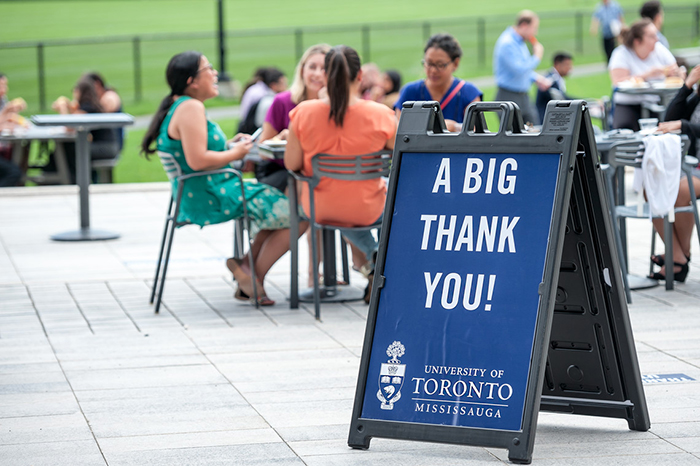 "UTM staff BBQ sign reading  ""a big thank you"""