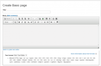 The basic page editor
