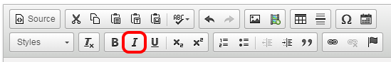 Italic button highlighted