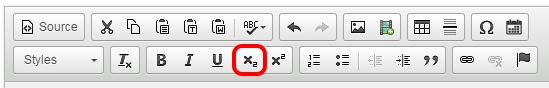 The subscript button highlighted