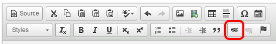 The toolbar with the link button highlighted