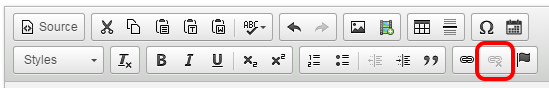 The unlink button highlighted on the CKEditor menu bar