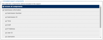 A screenshot of the included export components section