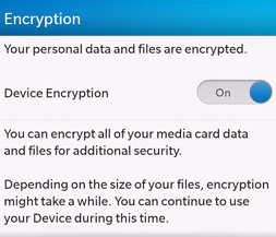 Blackberry OS10 encryption settings.