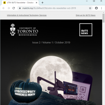 Screenshot of the October 2019 issue of the I and ITS newsletter