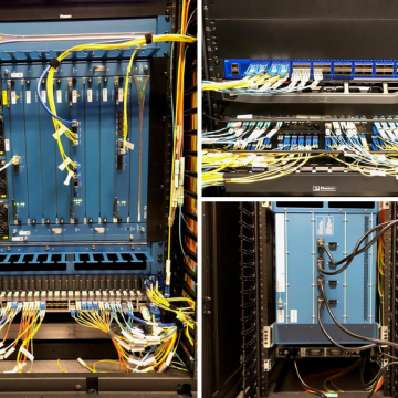 Close-up images of the new next-generation firewalls hardware installed at the St. George campus.