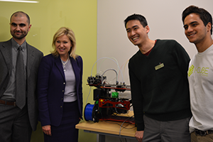 Posing with the I-CUBE's 3D printer