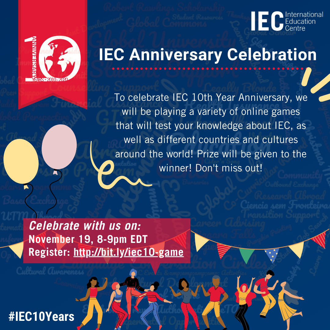 IEC 10 Year Anniversary 8 to 9 pm EST
