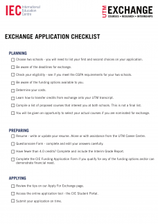 Exchange Checklist