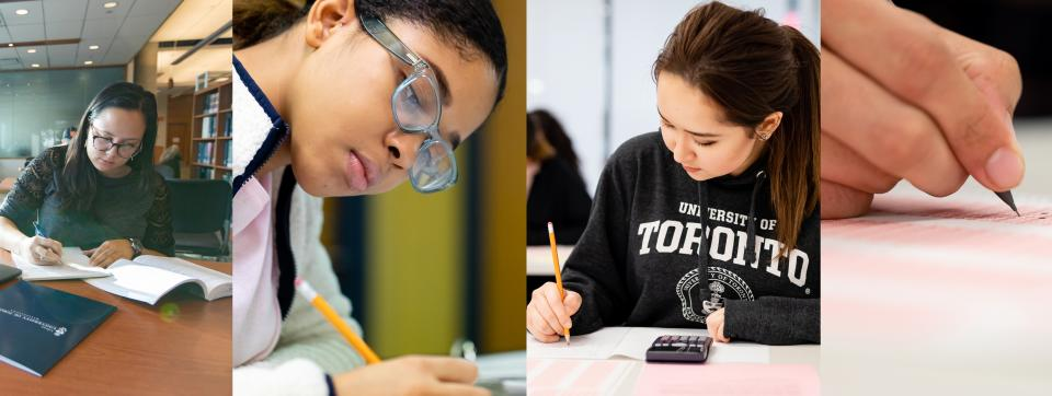 four images of students writing
