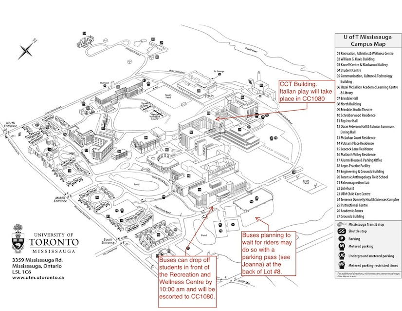 Campus map and high school student drop-off