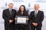 Sarah Israr poses with Gordon Cressy and U of T President Meric Gertler