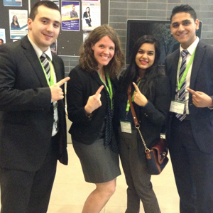 Show Me the Green: University of Toronto Mississauga students and third-place winners Ramandeep Jutla, Akanksha Garg, Andrea Koop and Paulo Pereira pocketed a cash prize of $1000 during the eighth annual SMG Conference.