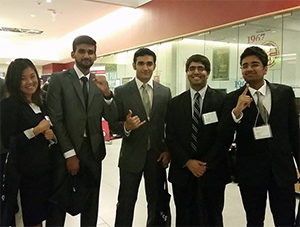 UTM team Contigo Consulting snatch the top prize at this year's University of Toronto Accounting Competition. From left: Natalie Yu, Ahsun Aziz, Vaibhav Makkar, Vivek Bhatt and Afnan Azam.