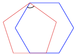 Regular hexagon and a regular pentagon overlapping