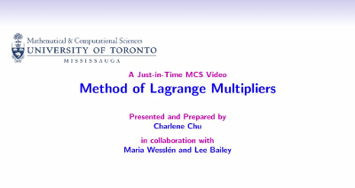 Method of Lagrange Multipliers video