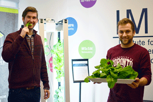 students with vertical farmwall