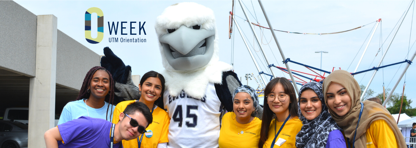"7 smiling students gather around an eagle mascot, who is waving and smiling. At the top left-centre is stylized text logo saying ""O-Week UTM Orientation""."