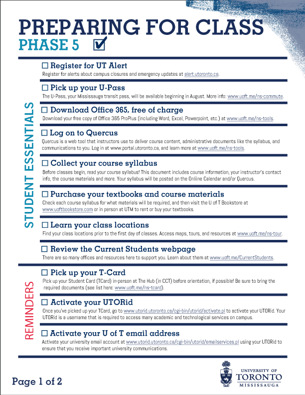 Image of Phase 5 pg 1 checklist - click on image for downloadable version