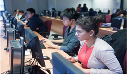 Image of Students at computer work stations