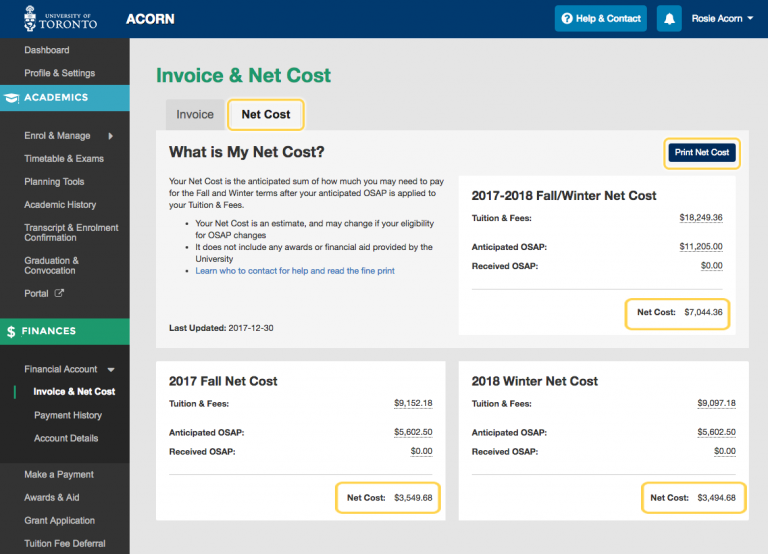 Screenshot of Net Cost feature on ACORN