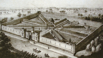 Lithograph showing aerial perspective of Eastern State Penitentiary