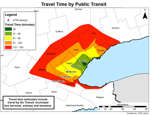 travel times to UTM via public transit