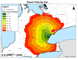 map of travel times to UTM via car