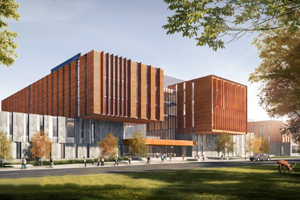 Exterior rendering of North building phase B, view from Outer Circle Road