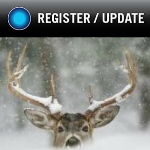 deer covered in snow with button that reads update register