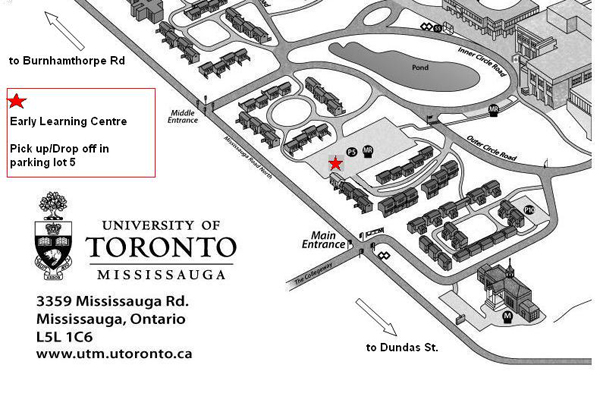 Map showing location of UTM child care centre