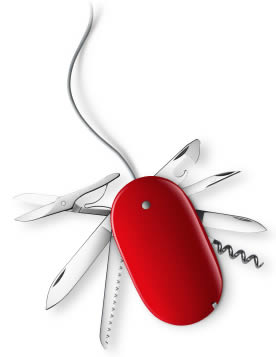 Image of Swiss army mouse with computer cord