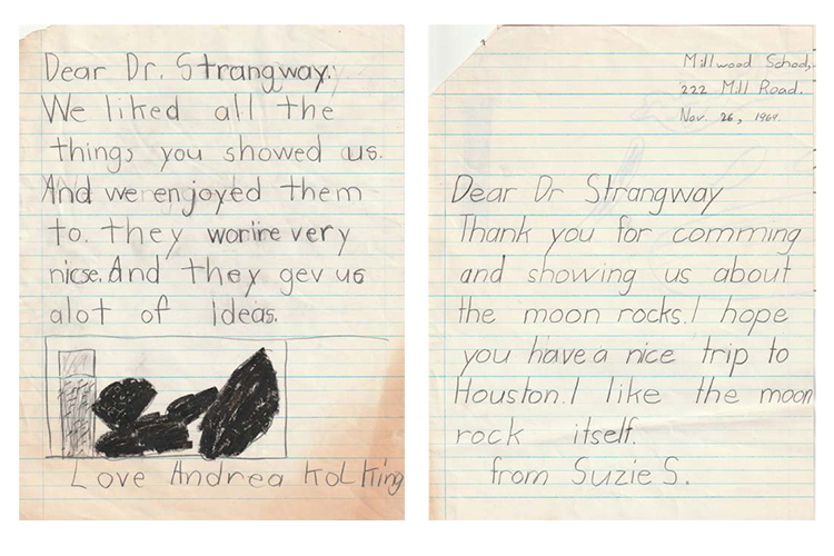 Fan mail from children to David Strangway after he visited his daughter's Toronto elementary school with samples of moon rocks and dust (photo courtesy of Susan Strangway)