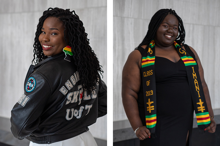 Njeri Fraser, left, completed a bachelor's in chemical engineering; Katherina Boyd finished a bachelor's in political science and sociology (photos by Geoffrey Vendeville)