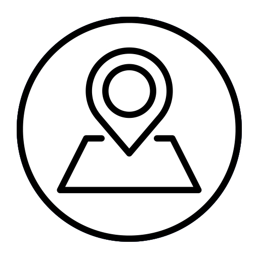 Black and white campus map icon