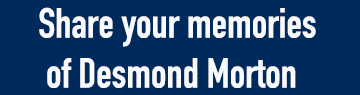 "Clickable blue box with white text reading ""Share your memories of Desmond Morton"""