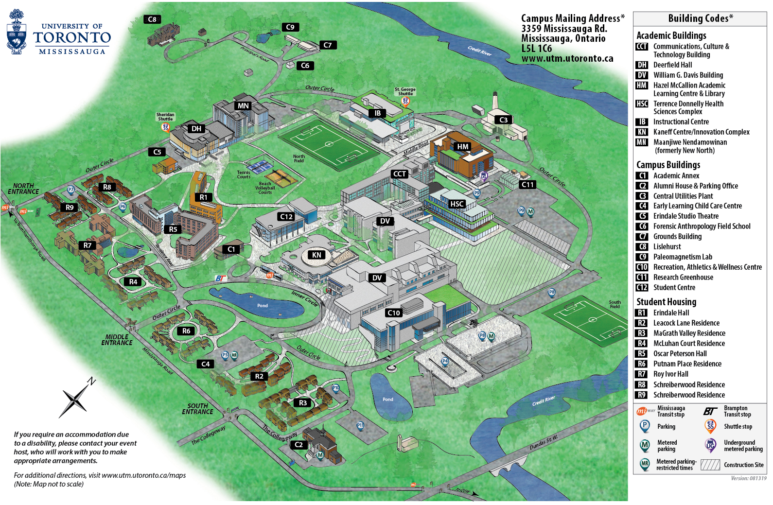 u of t campus map Maps Directions University Of Toronto Mississauga