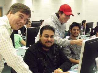 Professor Jeffrey Graham with students Tumesh Singh, Jacob Maracle (TA) and Usman Hassany