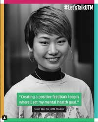 "Image of a woman with text reading ""Creating a positive feedback loop is where I set my mental health goal."""