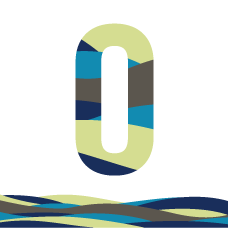 Orientation 2016 logo. A letter O with wavy bands of blues and greens above a wavy banner in the same colours
