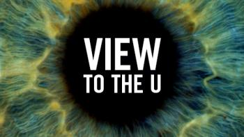 "close-up of eye with ""View to the U"" text"